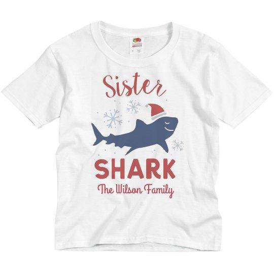Sister Shark Matching Family Christmas Custom Shirts