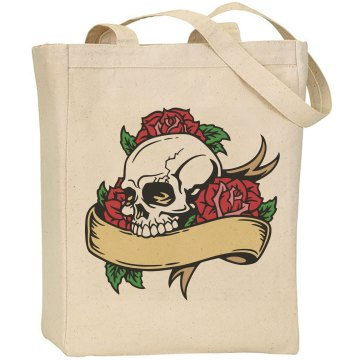 Skull and Roses Canvas Bag