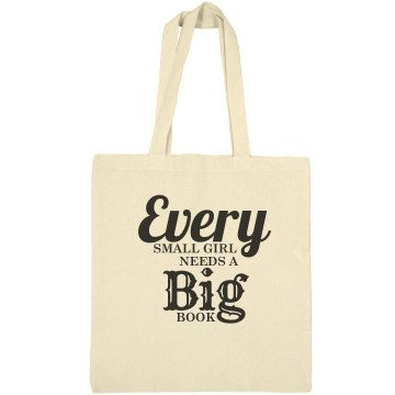 Small girl big book bag
