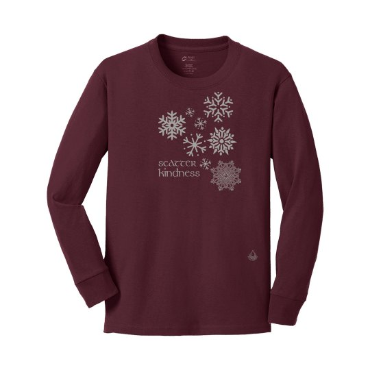Snowflakes youth maroon
