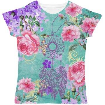 Soft Pink & Purple Flowers Dreamcatcher Soft Green