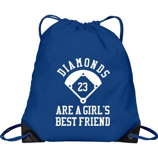 Softball Diamonds Friend Bag With Custom Number