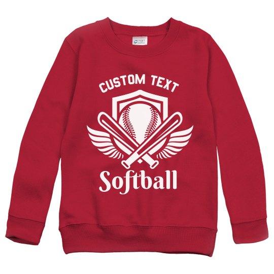 Softball Emblem Youth Kids Custom Sweatshirt