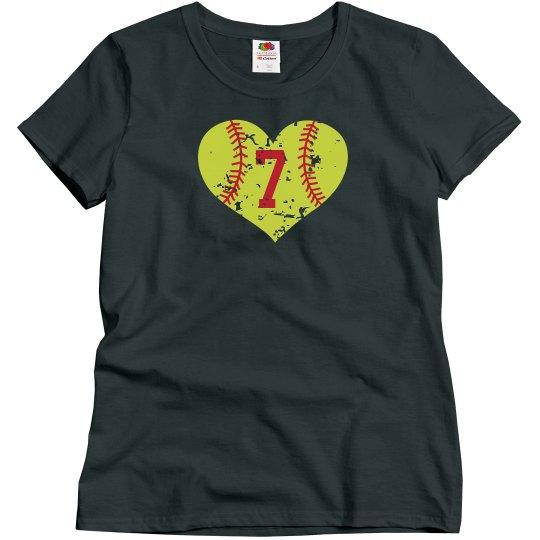 Softball Heart w/Number