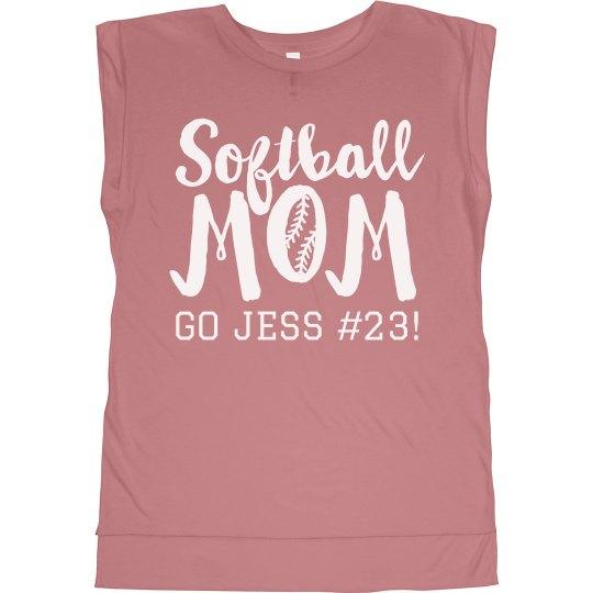 Softball Mom Custom Name Number