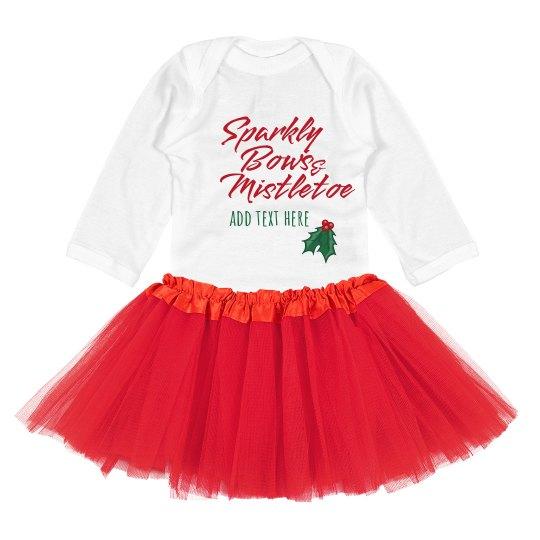 Sparkly Bows & Mistletoe Custom Baby