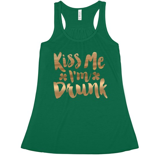 St Patrick Gold Metallic Kiss Me