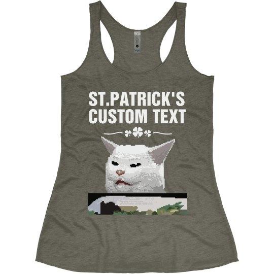 St. Patrick's Cat Meme Tank