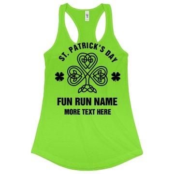 St Pattys Run Custom Text Green