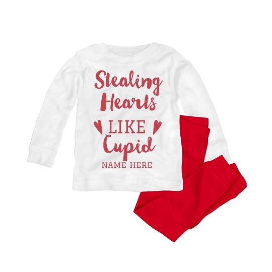 Stealing Hearts Custom Valentines Baby Pajamas