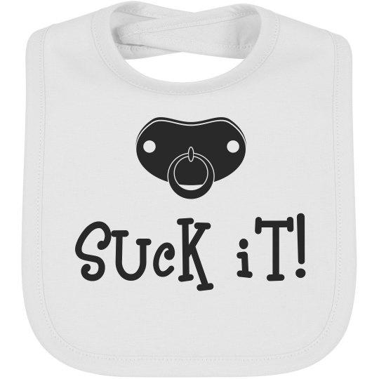 Suck It Pacifier Funny Baby Bib