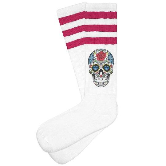 Sugar Skull Baby Blue Knee High Socks