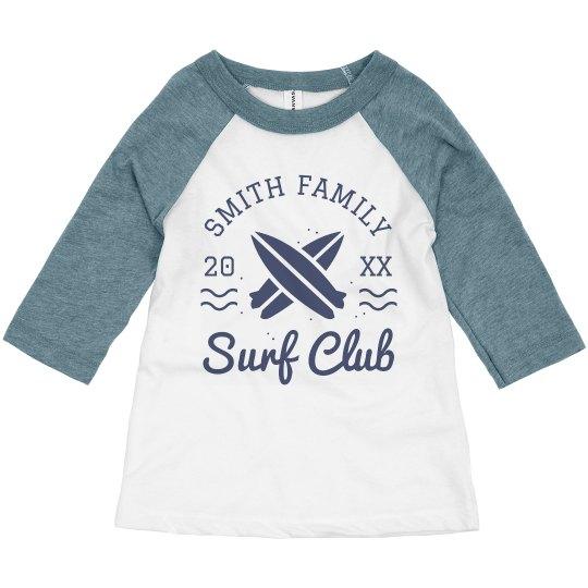 Surf Club Vintage Custom Last Name Toddler Raglan