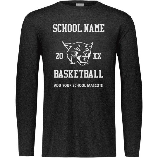 Tailor-Made School Name Mascot Basketball Long Sleeve