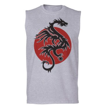 Tattoo Sun Dragon With Pearl - black red white