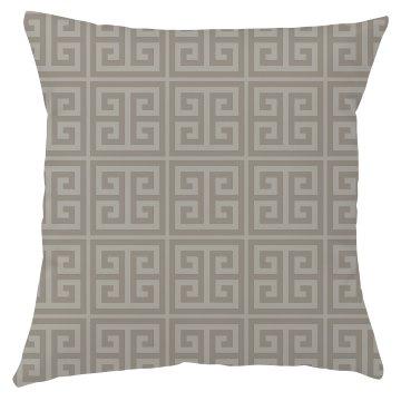 Taupe Greek Key Pattern Throw Pillow