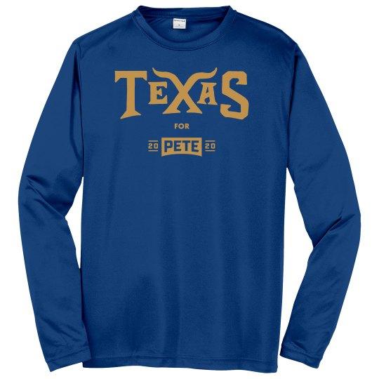 Texas for Pete - Royal Blue - Long Sleeve/Sport-Tek