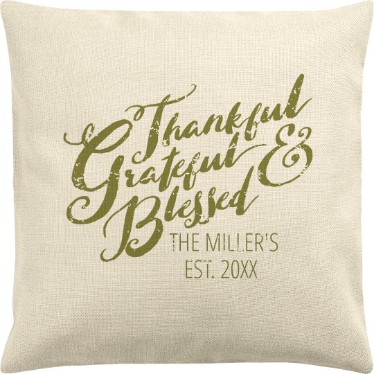 Thankful Pillow With Family Name
