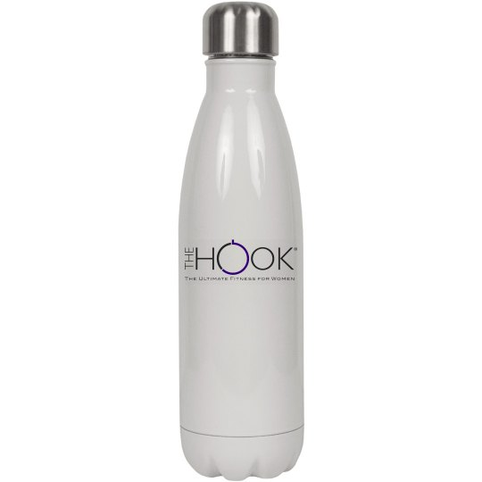 The Hook Icon Water Bottle in white
