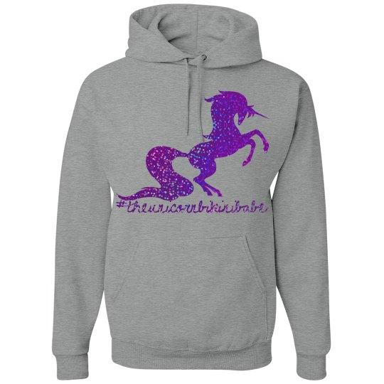 The Unicorn Bikini Babe hoodie - purple glitter
