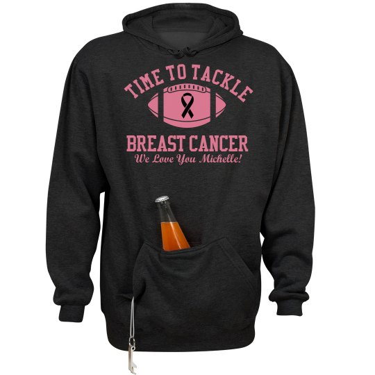 Time to Tackle Breast Cancer Football Fleece Hoodie