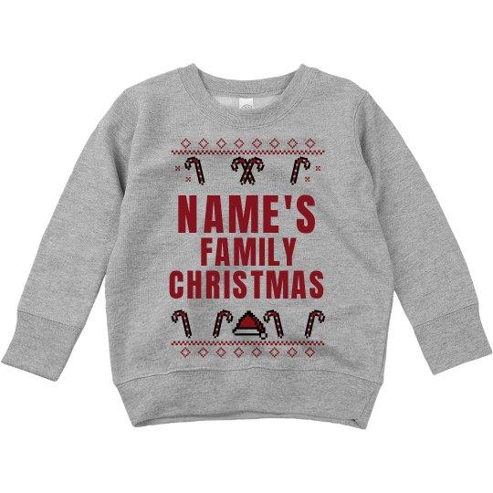 Toddler Custom Name Family Christmas Sweater