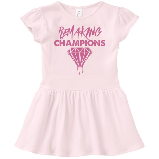 Toddler Girl Remaking Champions Dress