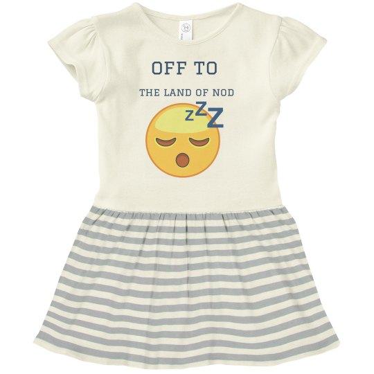 toddler gray & white dress w/sleepy graphic