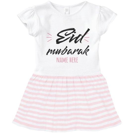 Toddler Ruffle Eid Mubarak Dress