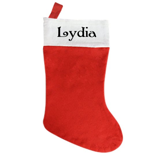 Traditional Christmas Stocking - With Name Lydia