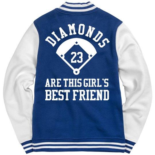 Trendy Baseball Diamonds Girl Jacket With Custom Number
