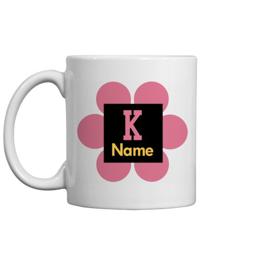 Trendy Pink Flower Monogram Coffee Mug