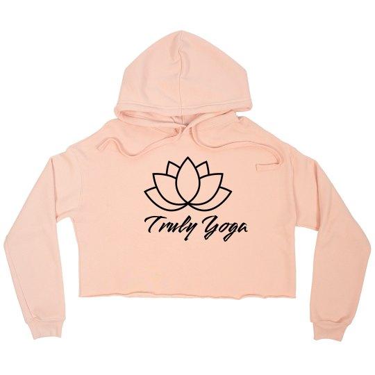 Truly Yoga Cropped Fleece Hoodie (Peach)
