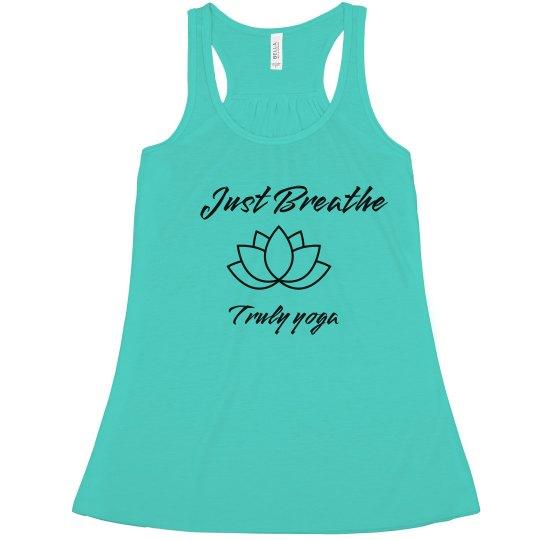 Truly Yoga Just Breathe Flowy Racerback Tank (Teal)