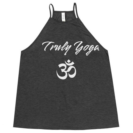 Truly Yoga Om Flowy High Neck Tank (Dark Grey Heather)