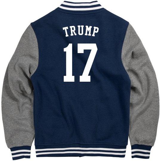 """""""Trump 17"""" Navy Blue Letterman Jacket"""