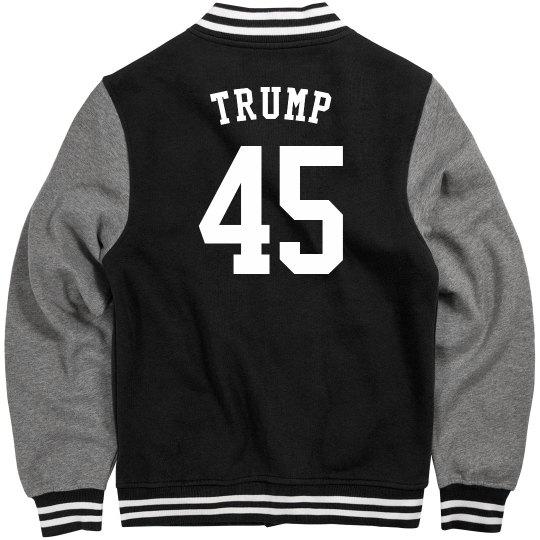 """""""Trump 45"""" Black Letterman Jacket"""