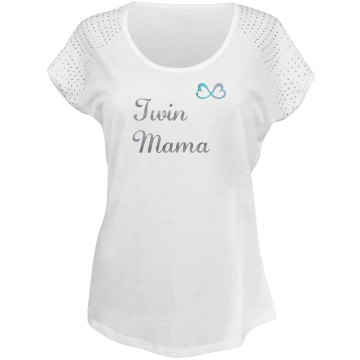 Twin Mama Misses Relaxed Fit Bling Tee - White/Silver