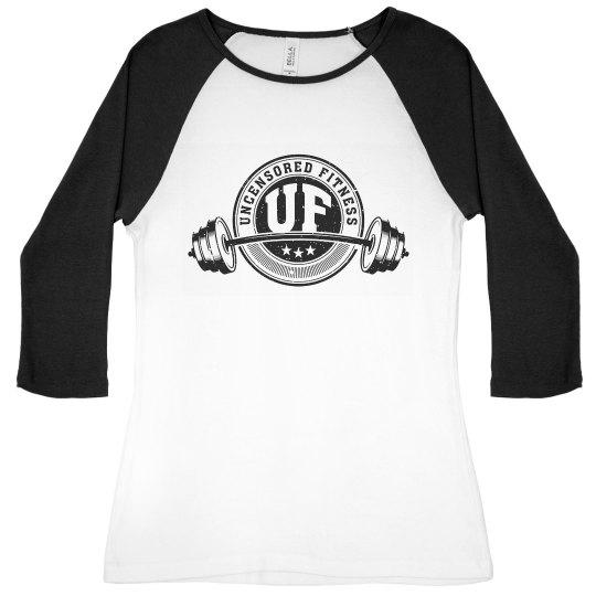 Uncensored Fitness Logo 3/4 Sleeve-Womens