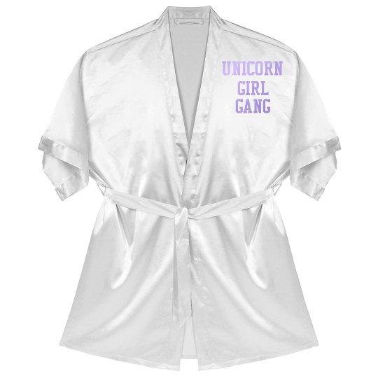Unicorn Girl Gang Competition Robe - white satin