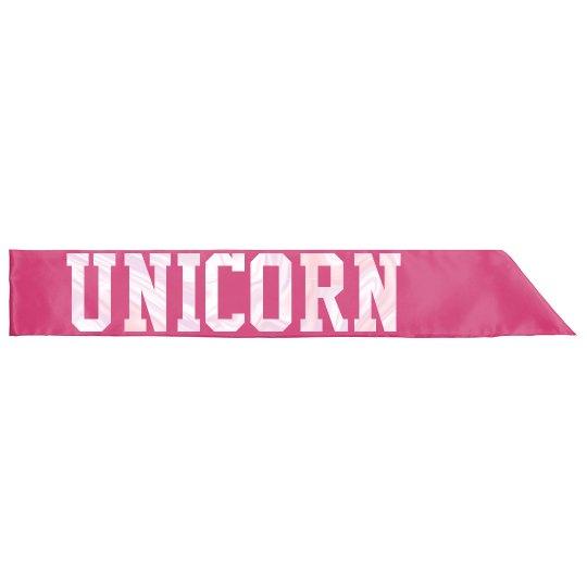 Unicorn Goddess Sash - Hot Pink/Pearl White
