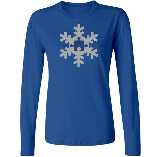Unique Autism Snowflake Ladies Long Sleeve