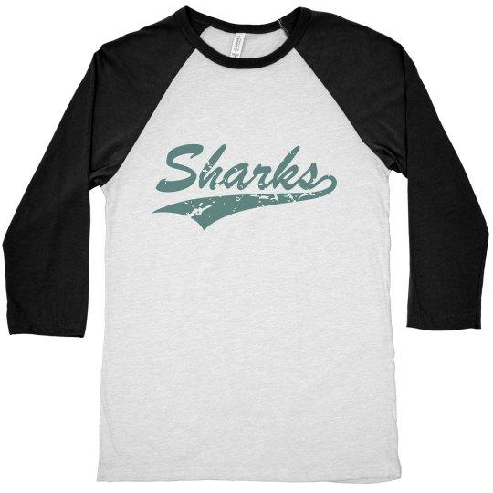 Unisex 3/4 Raglan - Sharks Script