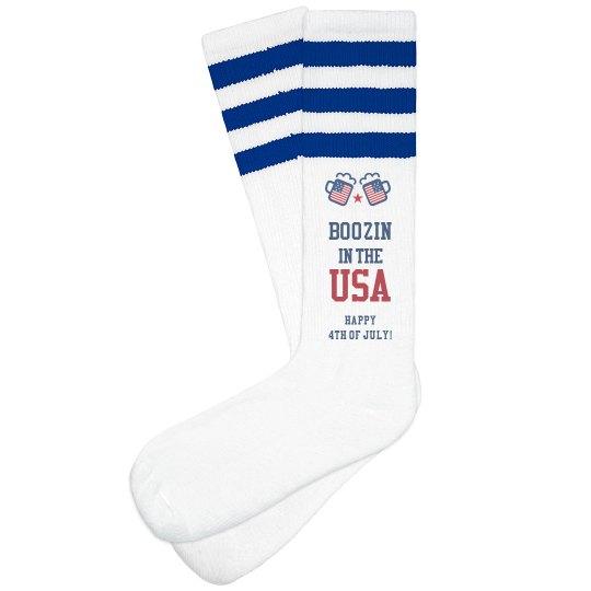 USA Drinking Socks 4th Of July