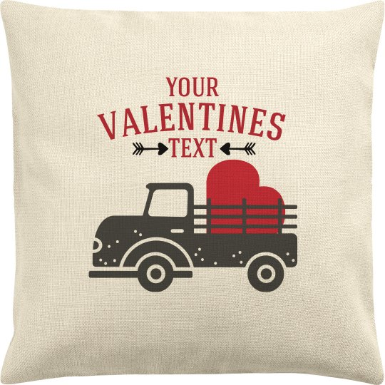 Valentine Text Truck Pillow
