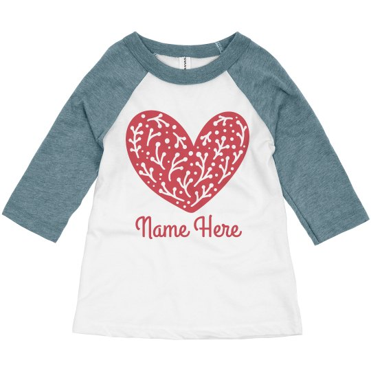 Valentine's Day Toddler Heart & Custom Name