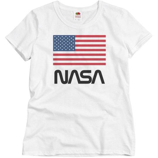 Vintage NASA USA American Flag