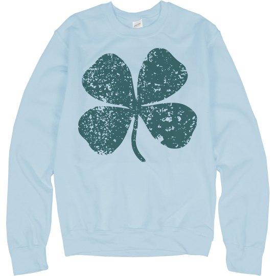 Vintage Shamrock Four Leaf Clover St Patricks Sweater