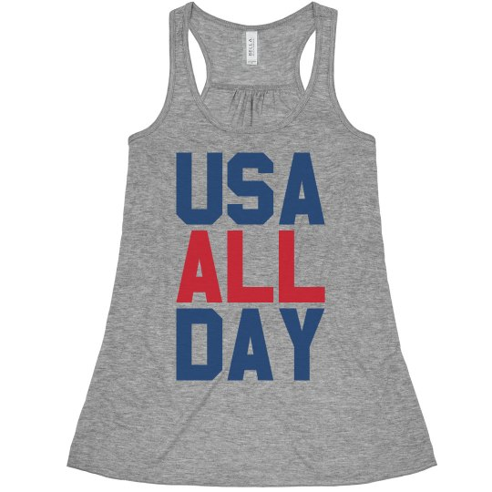 Vintage USA All Day July 4th Woman