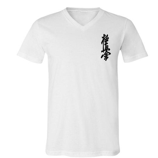 V-neck Jersey T-shirt with Kanji and Logo
